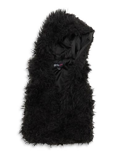 Girls 4-6x Hooded Faux Fur Vest,BLACK,large