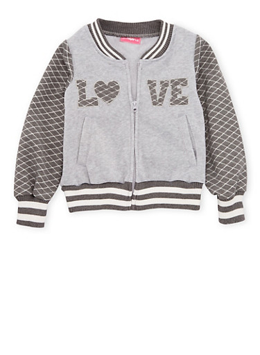 Girls 4-6x Fleece Varsity Jacket with Quilted Love Patch,CHARCOAL,large