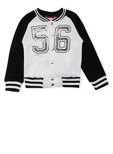 Girls 4-6x Fleece Varsity Jacket,BLACK/WHITE,large