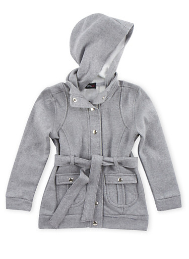 Girls 4-12 Belted Fleece Jacket,HEATHER,large
