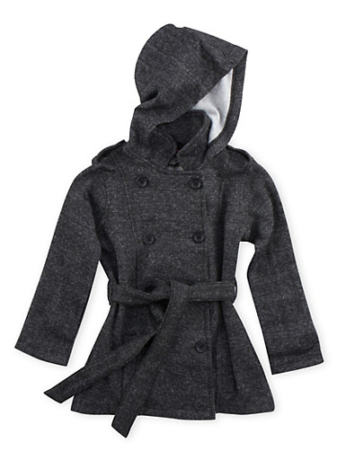 Girls 4-6x Belted Fleece Jacket with Hood,BLACK/WHITE,large