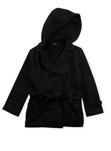 Girls 4-6x Hooded Fleece Jacket with Belt,BLACK,large