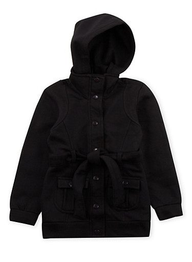 Girls 5-6x Hooded Fleece Jacket with Snap Front and Belt,BLACK,large