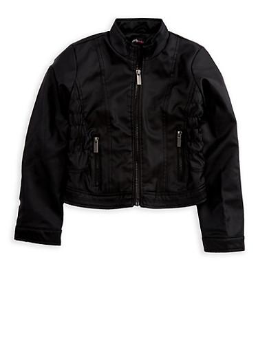 Girls 4-6x Faux Leather Jacket,BLACK,large