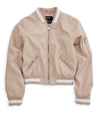 Girls 4-6x Faux Leather Bomber Jacket,MAUVE,large
