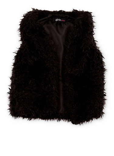 Girls 7-16 Faux Fur Vest with Open Front,BLACK,large