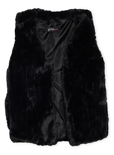 Girls 7-16 Faux Fur Open Front Vest,BLACK,large