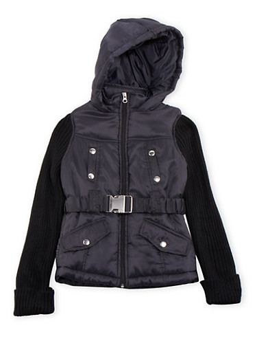 Girls 7-16 Hooded Puffer Coat with Knit Sleeves,BLACK,large