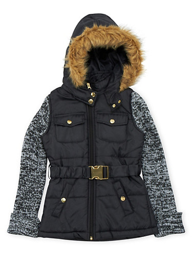Girls 10-16 Puffer Jacket with Faux Fur and Knit Sleeves,BLACK,large