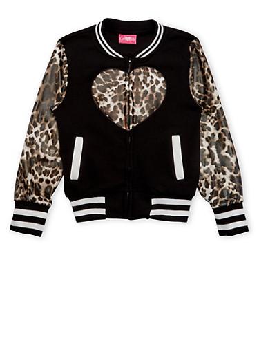 Girls 7-16 Fleece Bomber Jacket with Stripes and Leopard Print,BLACK,large