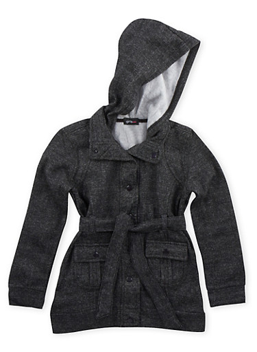 Girls 7-14 Belted Fleece Jacket with Hood,BLACK/WHITE,large