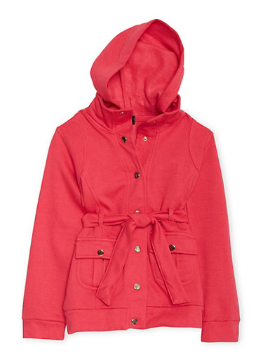 Girls 7-16 Hooded Fleece Jacket with Snap Front and Belt,FUCHSIA,large