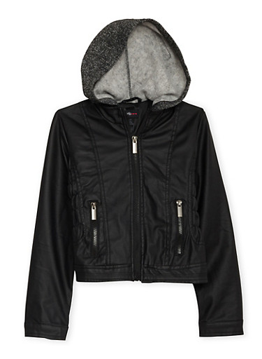 Girls 7-16 Ruched Faux Leather Jacket with Fleece Hood,BLACK,large
