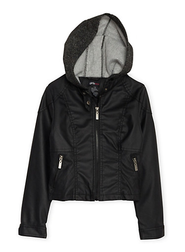 Girls 7-16 Faux Leather Jacket with Fleece Hood,BLACK,large