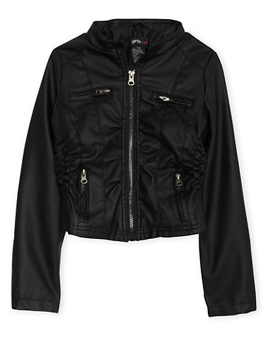 Girls 7-16 Ruched Faux Leather Moto Jacket,BLACK,large