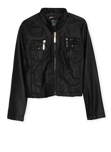 Girls 7-16 Faux Leather Jacket with Zip Pocket Accents,BLACK,large
