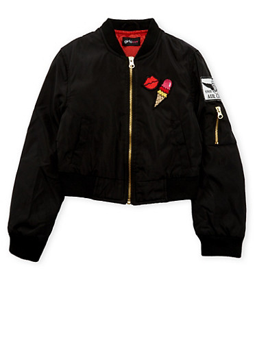 Girls 7-16 Padded Bomber Jacket with Cheeky Patches,BLACK,large