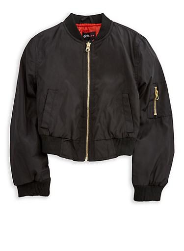 Girls 7-16 Bomber Jacket,BLACK,large