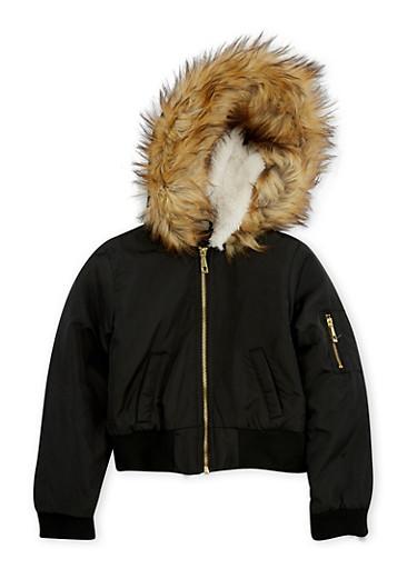 Girls 7-16 Black Faux Fur Lined Hood Bomber Jacket,BLACK,large