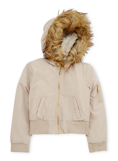 Girls 7-16 Faux Fur Lined Hood Bomber Jacket,TAN,large