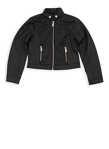 Girls 7-16 Quilted Faux Leather Zip Up Jacket at Rainbow Shops in Jacksonville, FL | Tuggl