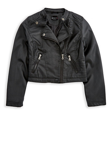 Girls 7-16 Faux Leather Zip Up Jacket,BLACK,large