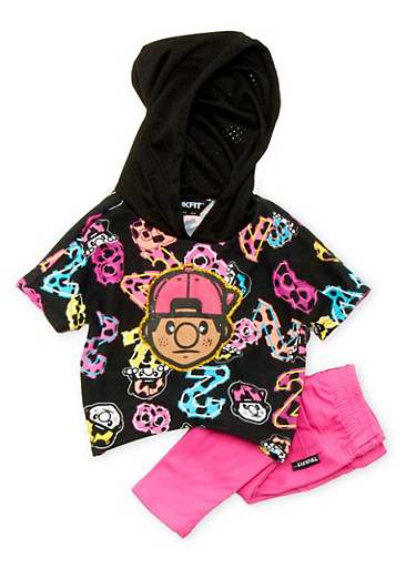 Baby Girl Trukfit Printed Hoodie and Jeans Set with Graphic,FUCHSIA,large