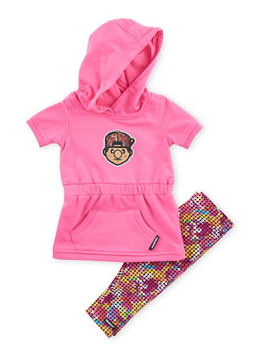 Baby Girl Trukfit Graphic Hooded Dress with Printed Leggings Set,FUCHSIA,large