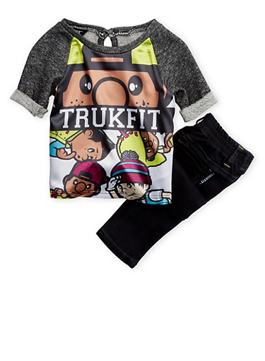 Baby Girls Trukfit Graphic Knit Top and Skinny Jeans Set,BLACK,large