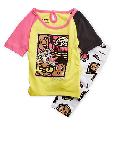 Baby Girl Trukfit Color Block Top and Printed Jeans Set,LIGHT YELLOW,large