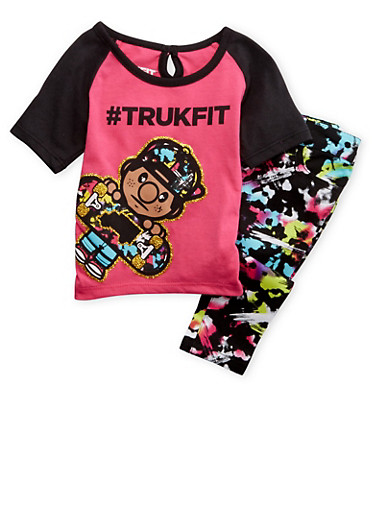 Baby Girl Trukfit T-Shirt and Jeans Set,FUCHSIA,large
