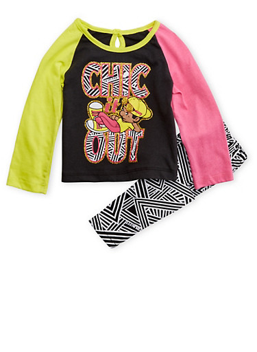 Baby Girl Trukfit Color Block Graphic Top with Abstract Print Pants Set,BLACK,large
