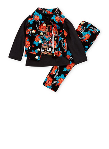 Baby Girl Trukfit Printed Denim Vest and Graphic Top with Jeans Set,BLACK,large