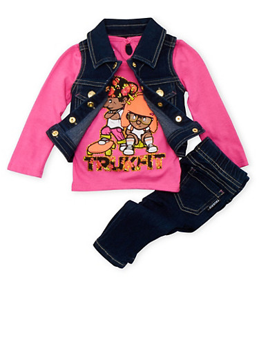 Baby Girl Trukfit Denim Vest and Graphic Top with Jeggings Set,FUCHSIA,large