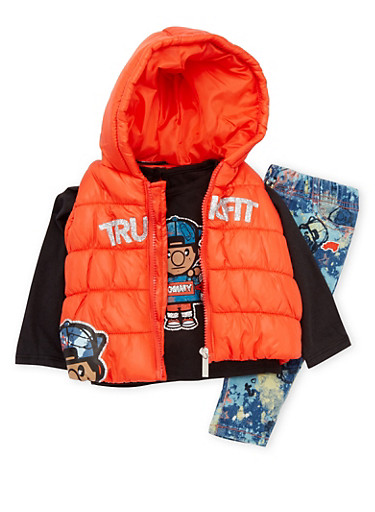 Baby Girl Trukfit Hooded Vest with Top and Jeans Set,RED,large
