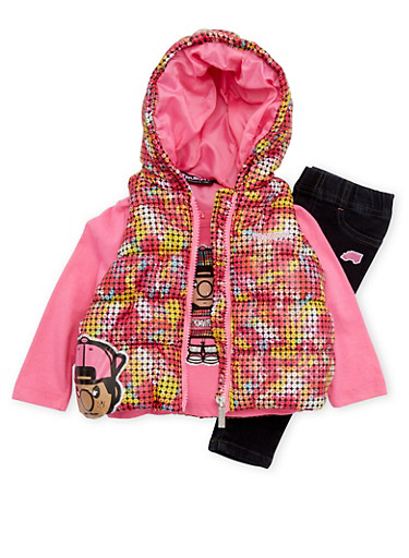 Baby Girl Trukfit Vest with Top and Jeans Set,FUCHSIA,large