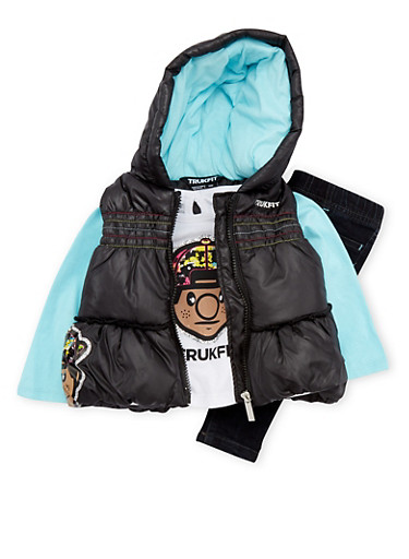 Baby Girl Trukfit Puffer Vest and Tee with Jeggings Set,BLACK,large