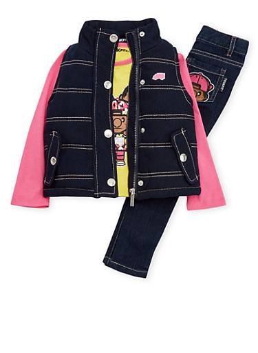 Baby Girl Trukfit Graphic Top with Vest and Jeans Set,YELLOW,large