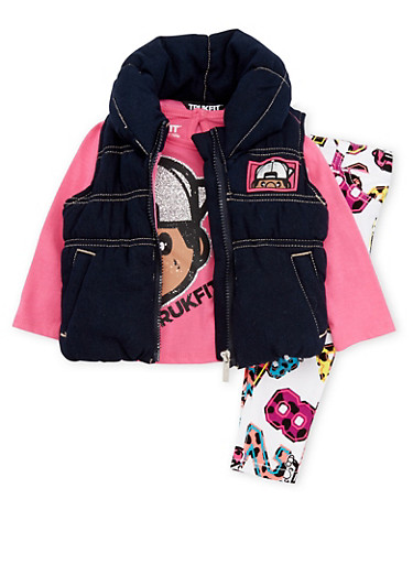 Baby Girl Trukfit Puffer Vest with Glitter Top and Jeans,FUCHSIA,large