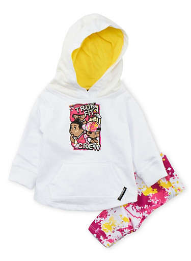 Baby Girl Trukfit Hoodie and Leggings Set,WHITE,large
