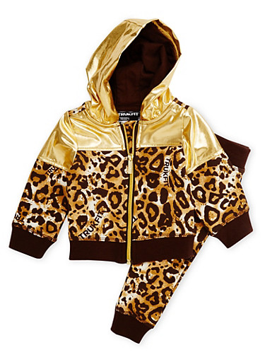 Baby Girls Trukfit Leopard and Metallic Print Jogger Set,GOLD,large