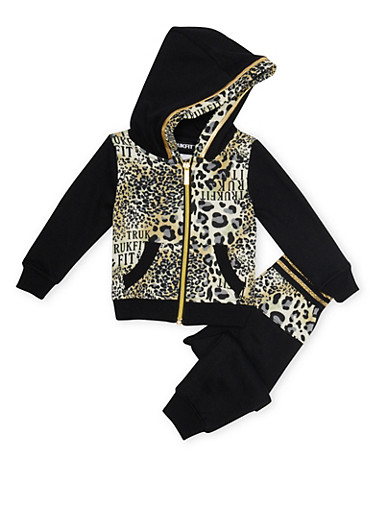 Baby Girl Trukfit Leopard Print Hoodie and Joggers Set,BLACK,large