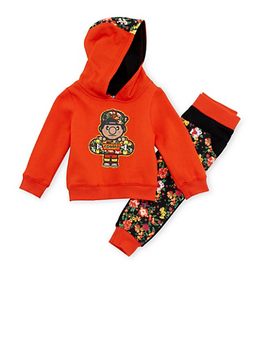Baby Girl Trukfit Graphic Hoodie with Joggers Set,RED,large
