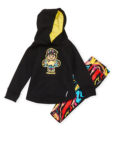 Baby Girl Trukfit Glitter Graphic Hoodie with Abstract Print Leggings Set,BLACK,large