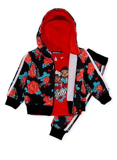 Baby Girl Trukfit Floral Print Sweatsuit Set,ORANGE,large