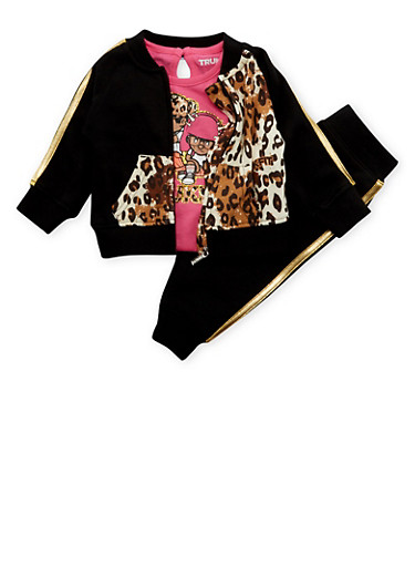 Baby Girl Trukfit Printed Jacket and Tee with Joggers Set,BLACK,large