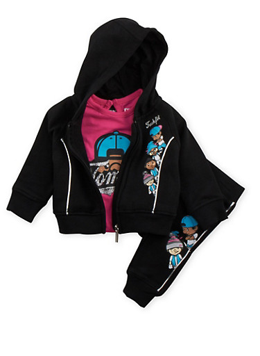 Baby Girl Trukfit Graphic T-Shirt with Sweatsuit Set,BLACK,large