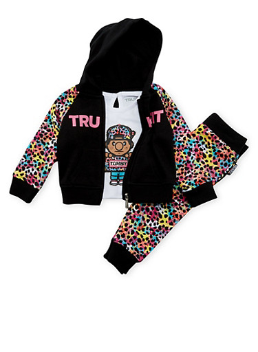 Baby Girl Trukfit Hoodie and Tee with Joggers Set,BLACK,large