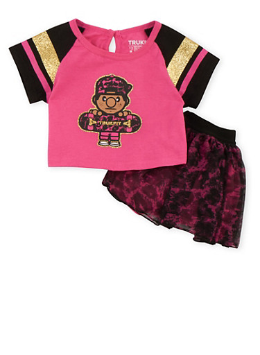 Baby Girl Trukfit Graphic Top with Leopard Print Tutu Set,FUCHSIA,large
