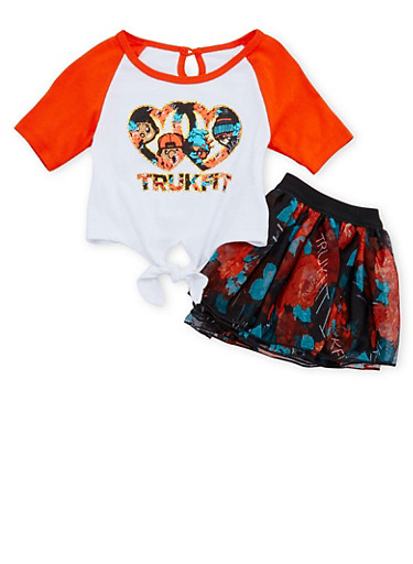 Baby Girl Trukfit T-Shirt and Tutu Set,ORANGE,large